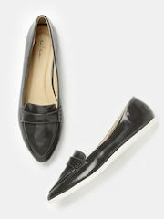 Mast & Harbour Women Charcoal Grey Pointy-Toed Slip-Ons