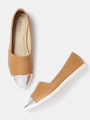 Mast & Harbour Women Tan Brown & Silver-Toned Slip-Ons