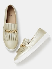 Mast & Harbour Women Muted Gold-Toned Slip-Ons