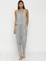 ONLY White & Navy Printed Jumpsuit