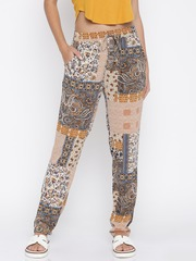 ONLY Women Beige Printed Flat-Front Trousers