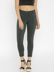 ONLY Women Grey Slim Fit Flat-Front Trousers