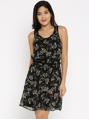 ONLY Women Black Printed Fit and Flare Dress