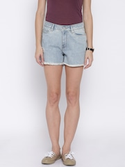ONLY Blue Distressed Denim Shorts