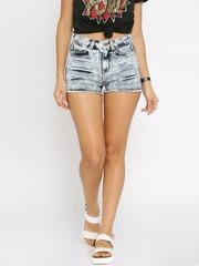 ONLY Women Blue Acid Washed Regular Fit Denim Shorts