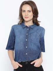 ONLY Blue Washed Denim Crop Top