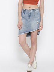ONLY Blue Washed Distressed Denim Skirt