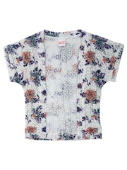 FS Mini Klub Girls White Floral Print Lace Shrug