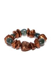 Thingalicious Copper-Toned & Green Beaded & Stone-Studded Bracelet