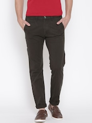 Peter England Casuals Men Olive Brown Slim Fit Flat-Front Trousers