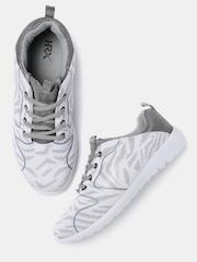 HRX by Hrithik Roshan Women White & Grey Woven Running Shoes