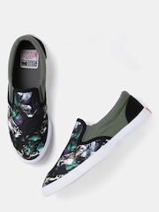 Kook N Keech Marvel Men Black Printed Slip-Ons