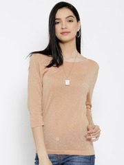 Wills Lifestyle Peach-Coloured Shimmer Top