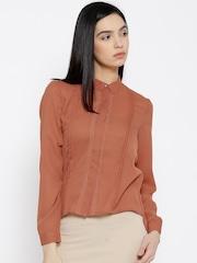 Wills Lifestyle Rust Orange Polyester Pleated Shirt