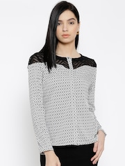 Wills Lifestyle White & Black Polyester Printed Top