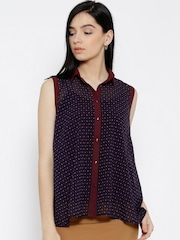 Wills Lifestyle Navy Polyester Printed Sheer Shirt