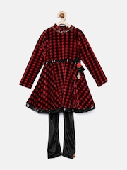 Tiny Girl Red & Black Printed Fit and Flare Dress