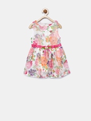 Tiny Girl Off-White Floral Print Fit & Flare Dress
