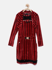 Tiny Girl Red & Black Printed Embellished Sheath Dress with Shrug
