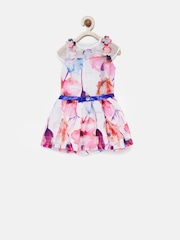 Tiny Girl White & Pink Floral Print Fit & Flare Dress
