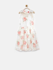 Tiny Girl Off-White Floral Print A-Line Dress