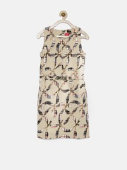 Tiny Girl Beige Printed Sheath Dress with Embellished Detail