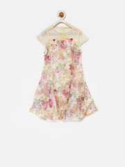 Tiny Girls Beige Printed Skater Dress