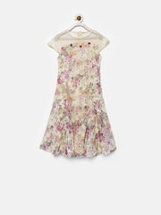Tiny Girl Beige Floral Print A-Line Dress