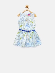 Tiny Girls Blue Printed Fit & Flare Dress