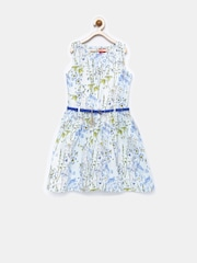 Tiny Girl Blue Floral Print Fit & Flare Dress