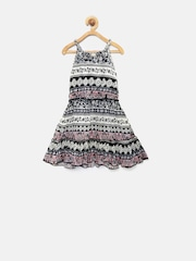 Tiny Girl Off-White & Black Floral Print A-Line Dress