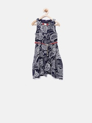 Tiny Girl Navy Floral Print Fit & Flare Dress
