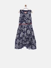 Tiny Girl Navy Floral Print A-Line Dress