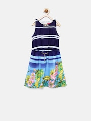 Tiny Girls Blue & White Printed Fit & Flare Dress