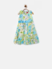 Tiny Girl Green Floral Print Fit & Flare Dress