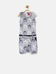 Tiny Girl Navy Floral Print Playsuit with Embellished Detail