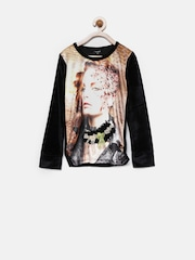 Tiny Girl Black Printed Top with Embellished Detail