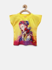 Tiny Girl Yellow Printed Top with Embellished Detail
