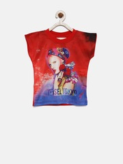 Tiny Girl Red Printed Top with Embellished Detail