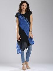 IMARA by Sharddha Kapoor Black & Blue Shibori Print Georgette Kurta