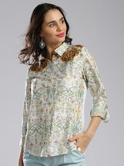 IMARA Women White Printed Casual Shirt