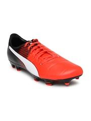 PUMA Men Neon Orange & Black evoPower 3.3 FG Printed Football Shoes