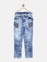 Gini & Jony Boys Blue Panelled Washed Jeans