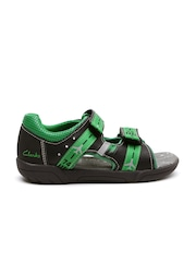 Clarks Boys Black & Green Colourblocked LED Leather Sandals