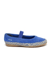 Clarks Girls Blue Suede Mary Janes