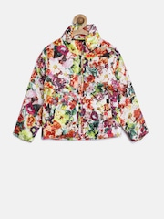 612 league Girls White Floral Print Bomber Jacket