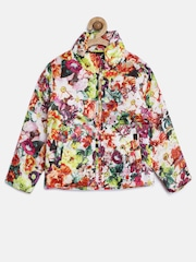 612 league Girls White Floral Print Bomber Jacket