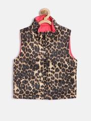 612 League Girls Brown & Red Animal Print Sleeveless Reversible Jacket