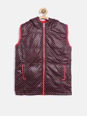 612 league Girls Red & Black Polka-Dot Print Sleeveless Reversible Jacket