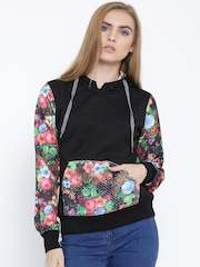 Fort Collins Black Floral Print Hooded Sweatshirt